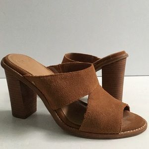 UGG Celia Tan Suede Cutout Slide Heels Sandals